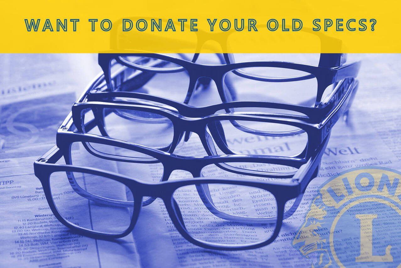 Image of reading glasses piled on top of each other along with a request for your donation of old, unwanted or unused glasses for our 'Recycle For Sight' campaign