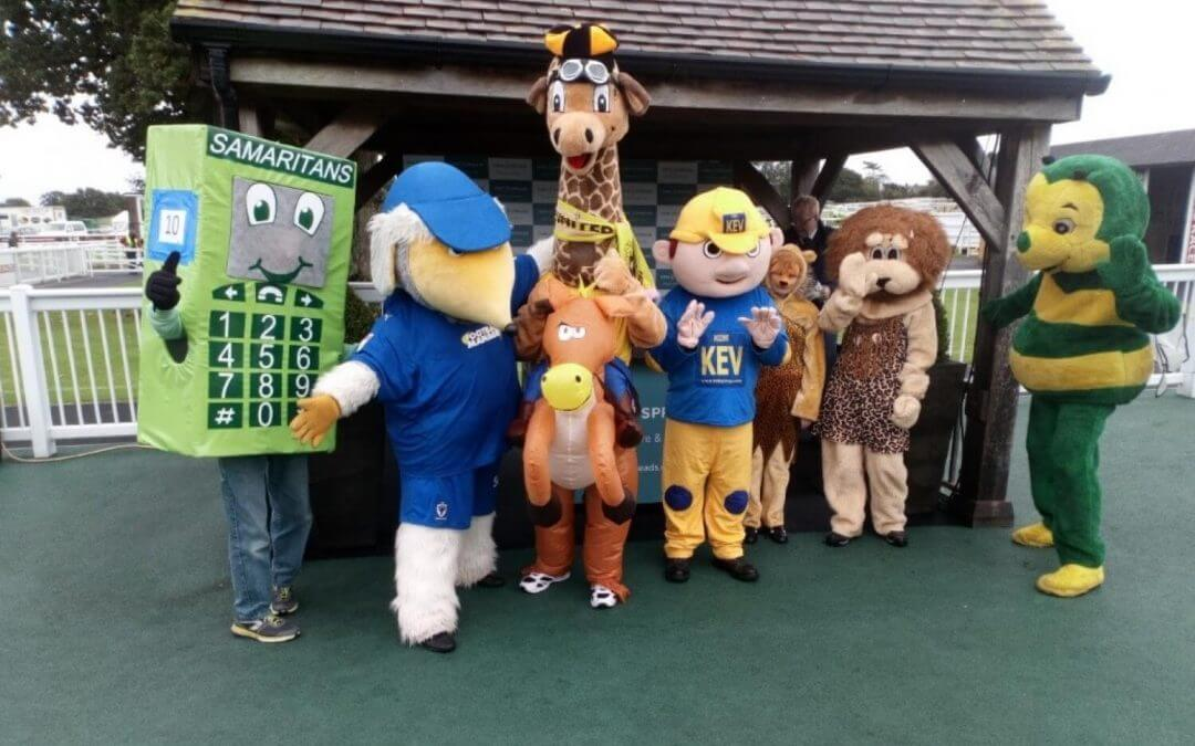 Photo of the Mascots that took part in the Haywards Heath Lions Club charity mascot race at the Plumpton Racecourse.